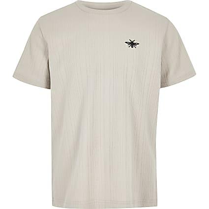 Boys stone ribbed T-shirt