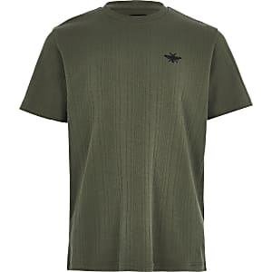 Geripptes T-Shirt in Khaki