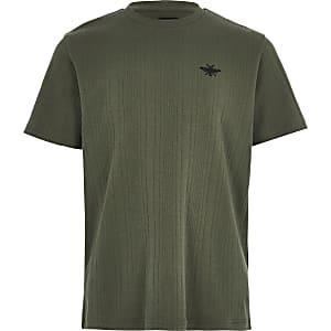 Kaki geribbeld T-shirt voor jongens