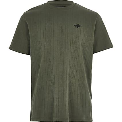 Boys khaki ribbed T-shirt