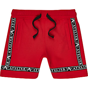 Boys red pique shorts