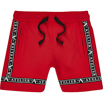 Boys red pique shorts