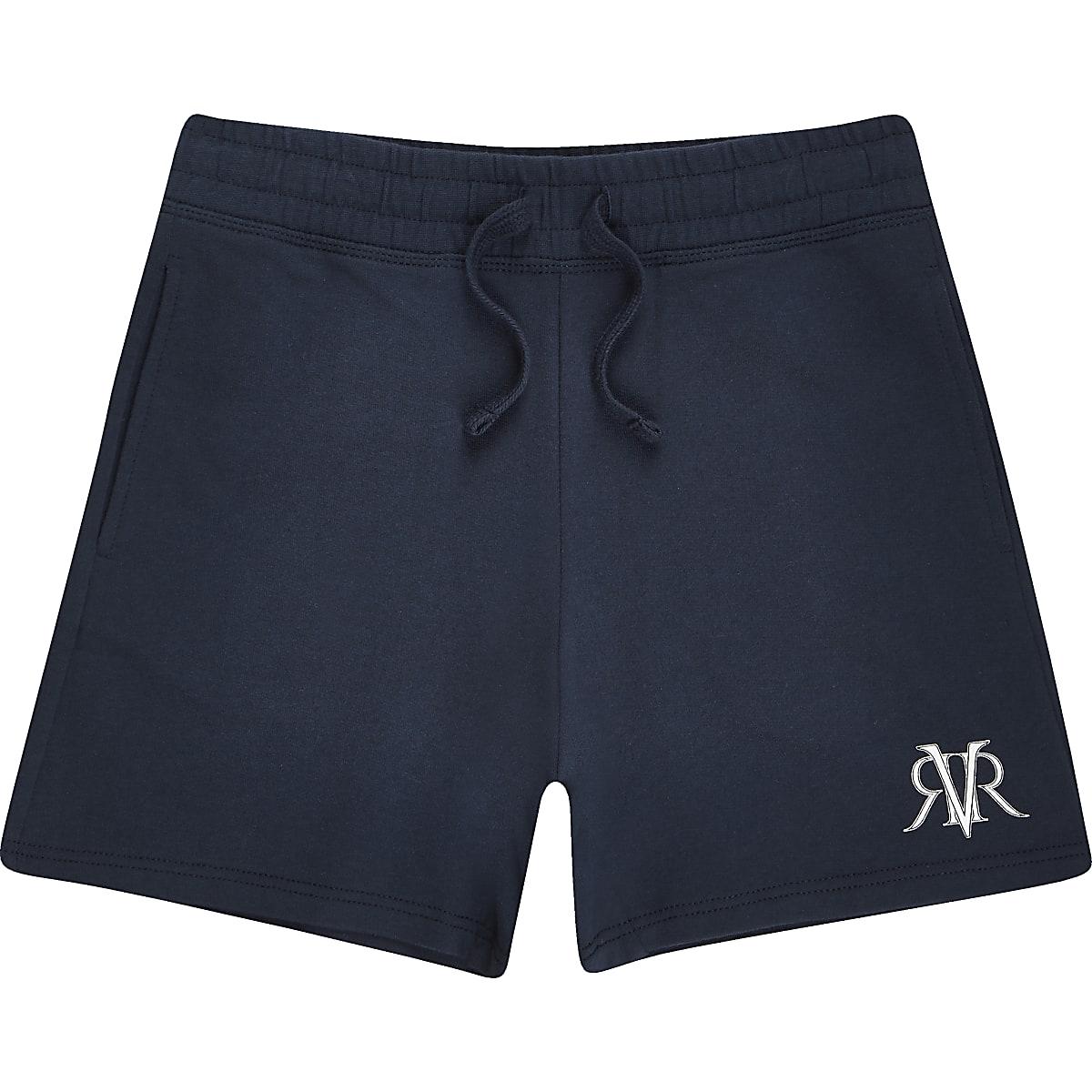 Mini boys navy 'Dude' print shorts