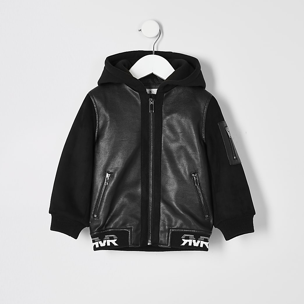 Mini boys black faux leather bomber jacket