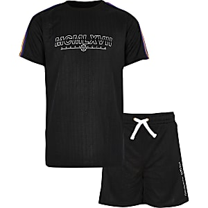 Boys black tape T-shirt outfit