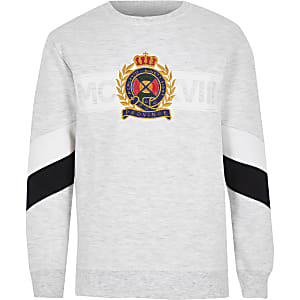 Boys grey marl panel sweatshirt