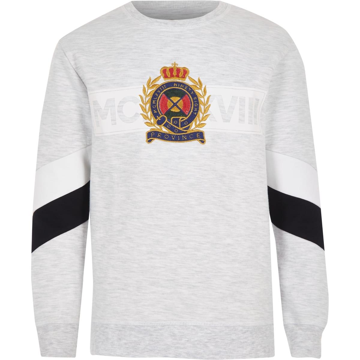 Grijs gemêleerd sweatshirt met paneel voor jongens