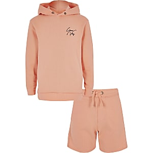 Ensemble short et sweat à capuche orange pour garçon