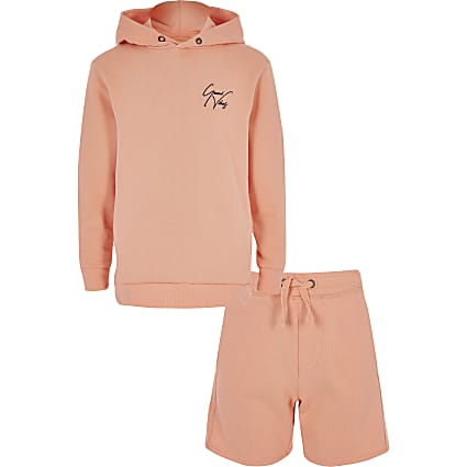 Boys orange hoodie and short outfit