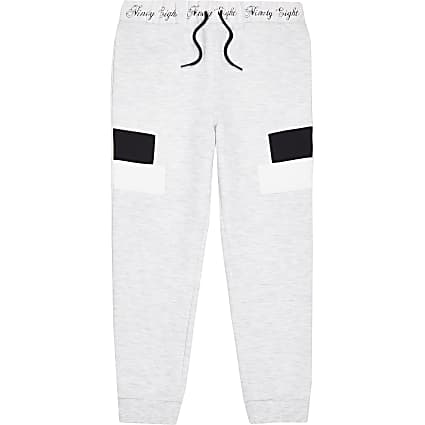 Boys grey marl panel joggers