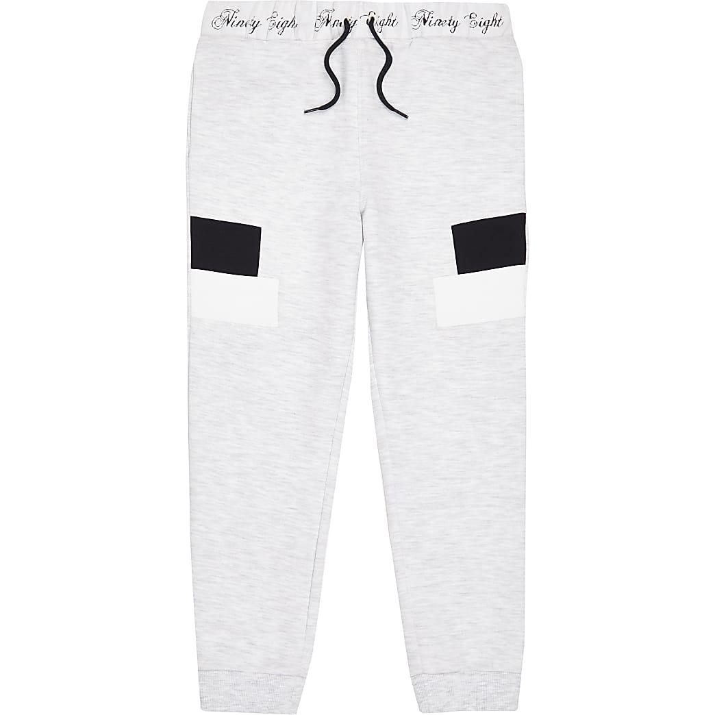 Boys grey marl panel joggers