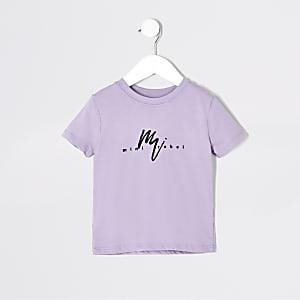Mini - Paars T-shirt met 'Maison Riviera'-print voor jongens