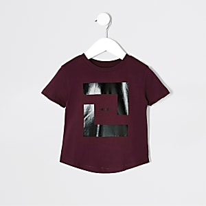 Mini boys burgundy box print T-shirt