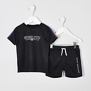 Mini - Outfit met zwarte T-shirt met bies voor jongens