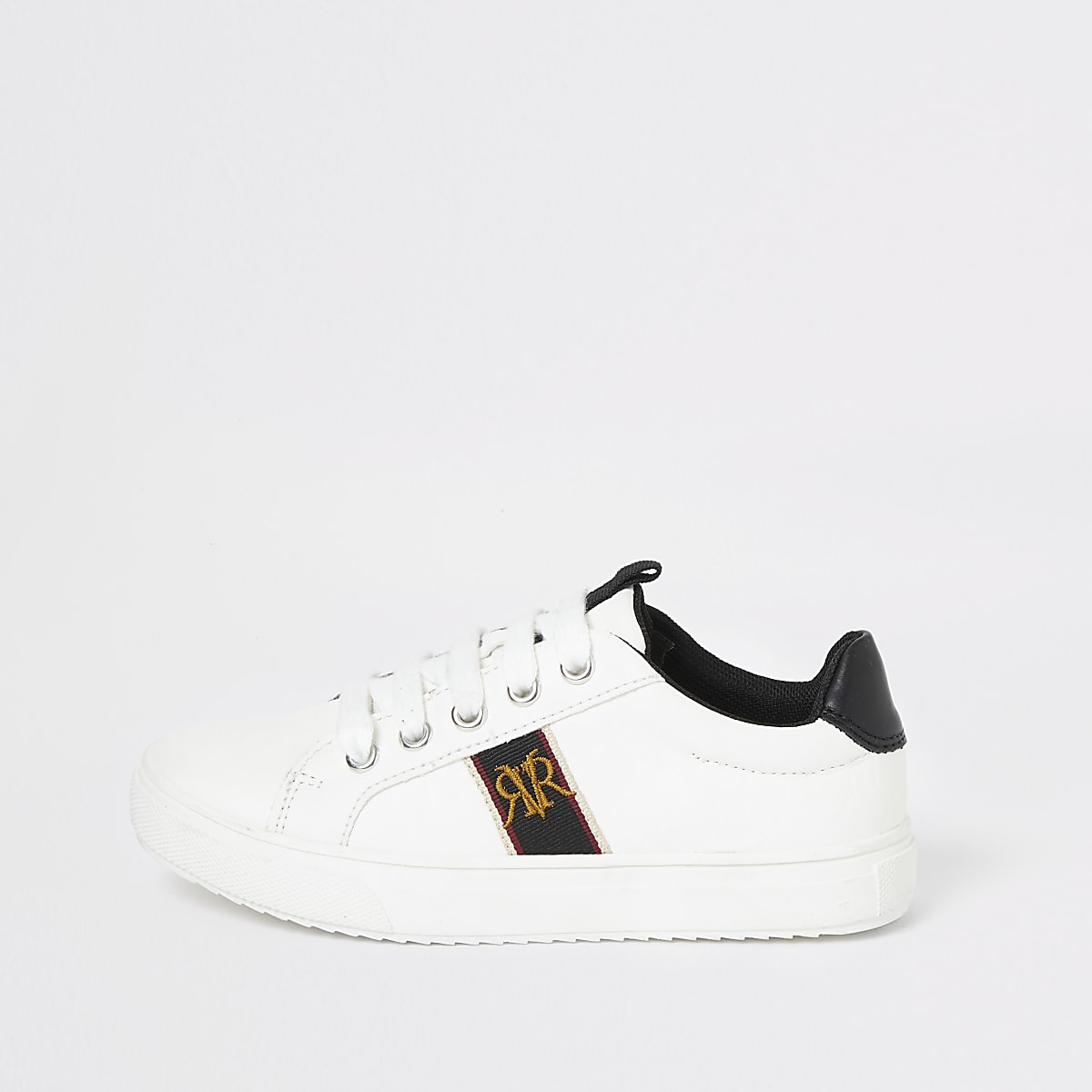 Boys white RI crest trainers