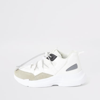 Boys white chunky trainers