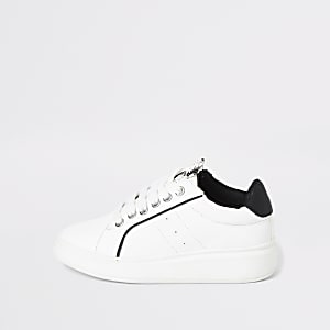 Boys white lace up trainer