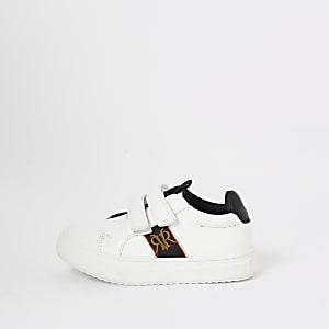 Baskets blanches à Velcro avec écusson RI Mini garçon