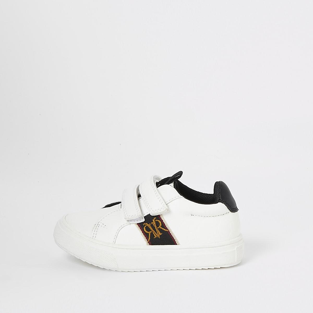 Mini - Witte sneakers met klittenband en RI-logo voor jongens