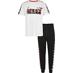Witte geruite pyjamaset voor jongens