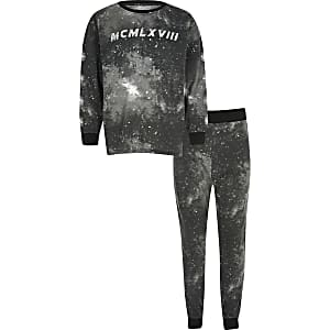 """Schwarzes Pyjama-Set """"MCMLXVIII"""" mit Weltraum-Motiv für Mädchen"""