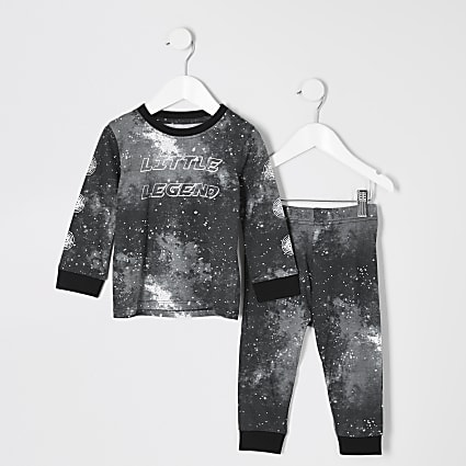 Mini boys black galactic print pyjamas