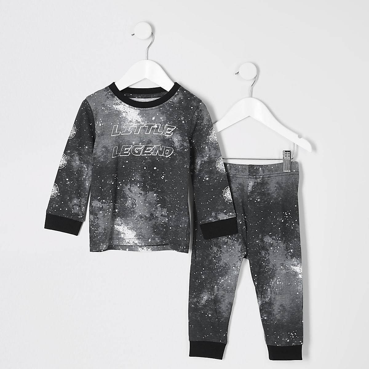 Mini boys black galactic print pyjama outfit