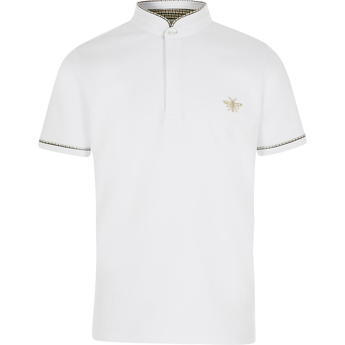 Boys white grandad collar polo shirt