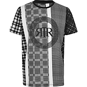 Boys white and black check T-shirt