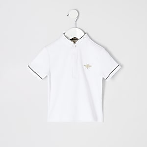 Mini boys white grandad collar polo shirt