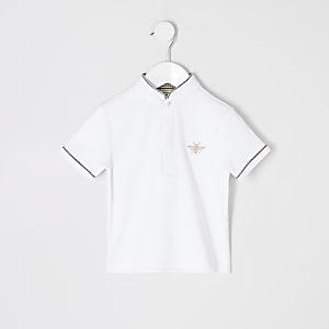 Mini - Wit poloshirt zonder kraag voor jongens