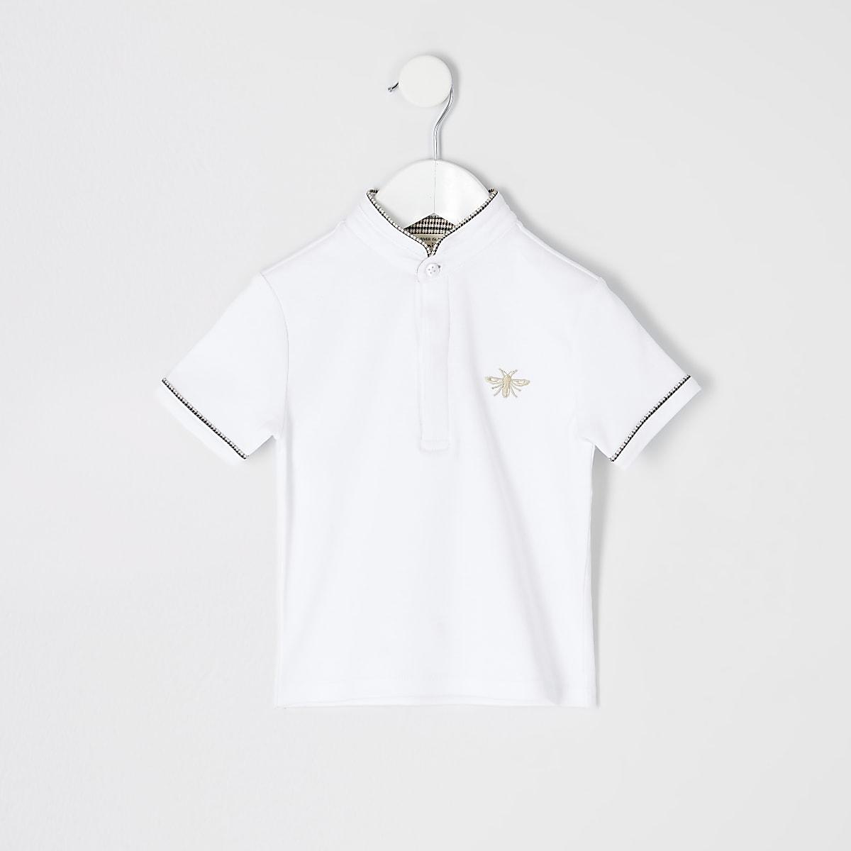 Mini boys white grandad collar polo shirt