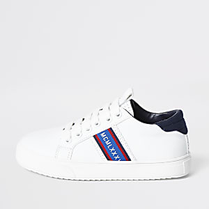 Boys white 'MCMLXXX' lace-up plimsolls