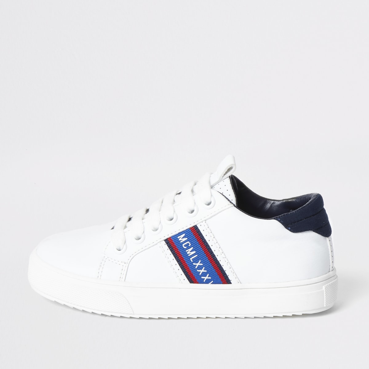 Boys white 'MCMLXXX' lace-up trainers