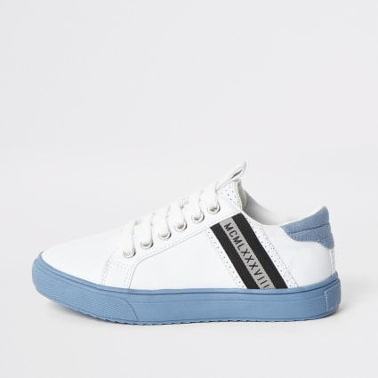 Boys white blue sole lace-up trainers