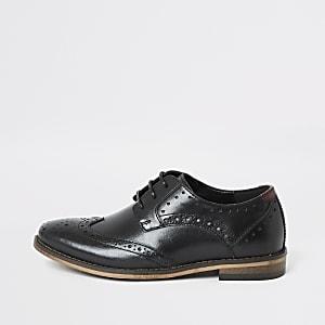 Richelieus à lacets en cuir noir pour garçon
