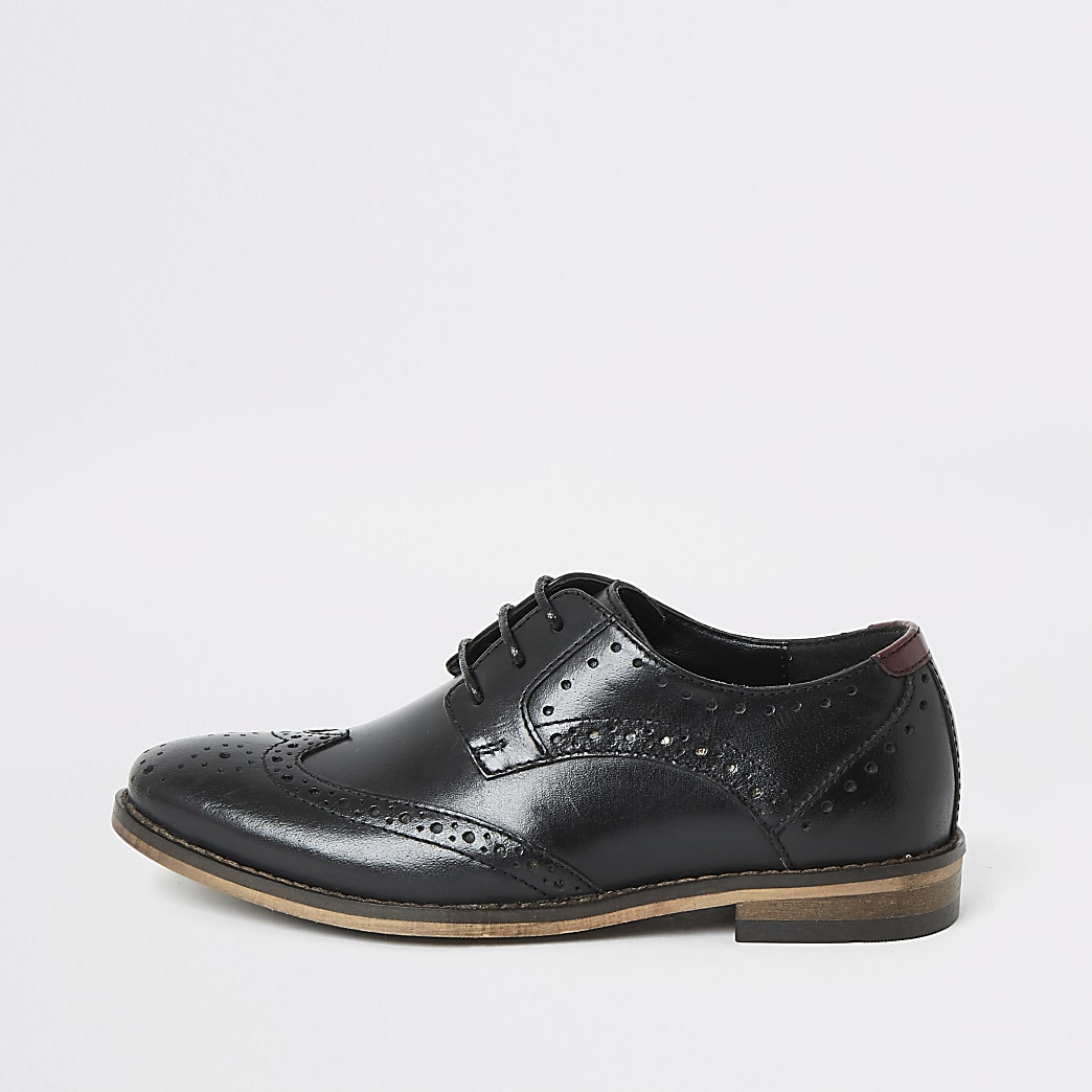 Boys black lace-up leather brogues