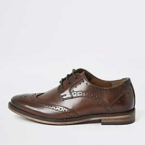 Boys brown lace-up brogues