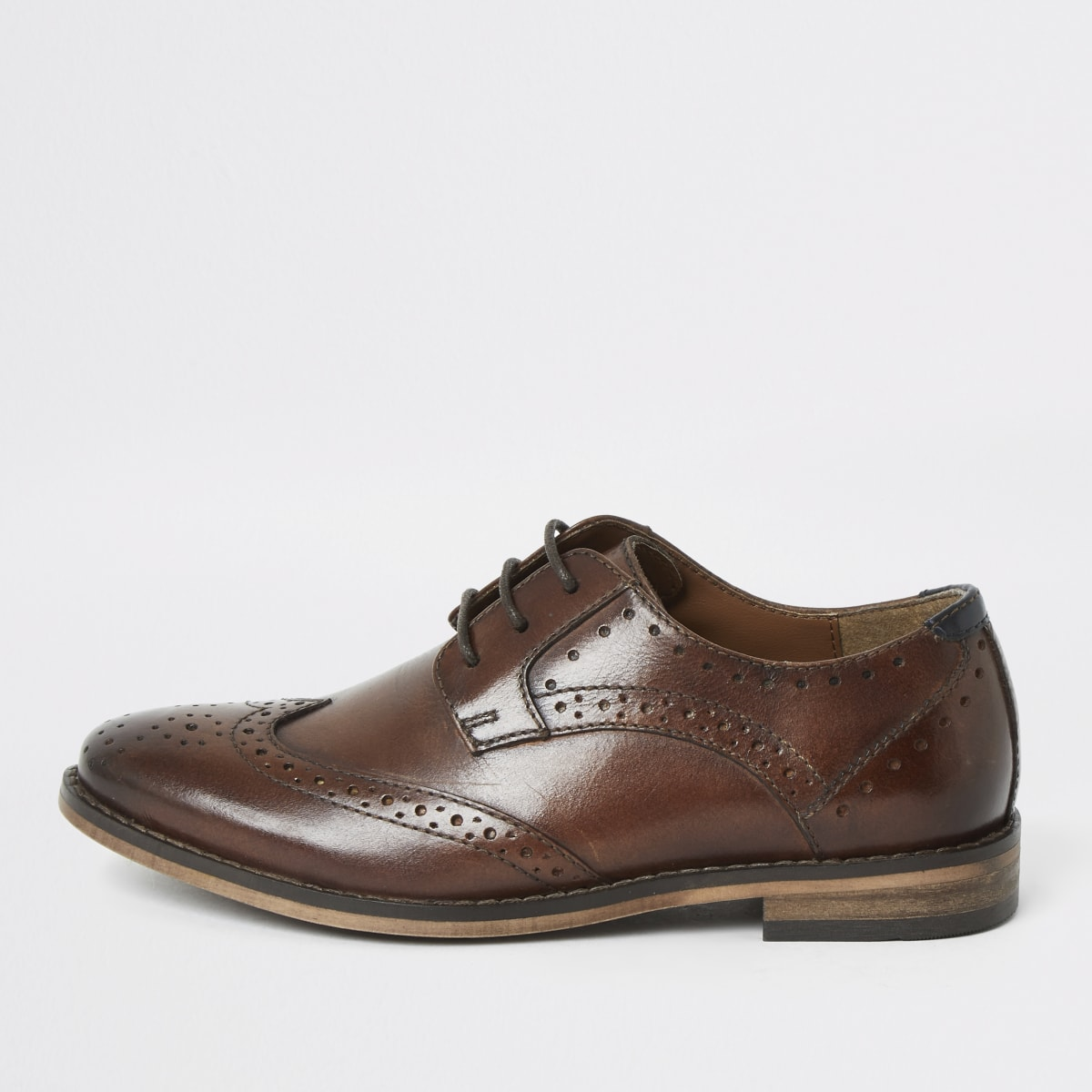 Boys brown lace-up leather brogues