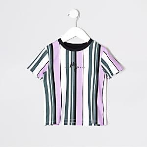 Mini boys purple stripe T-shirt