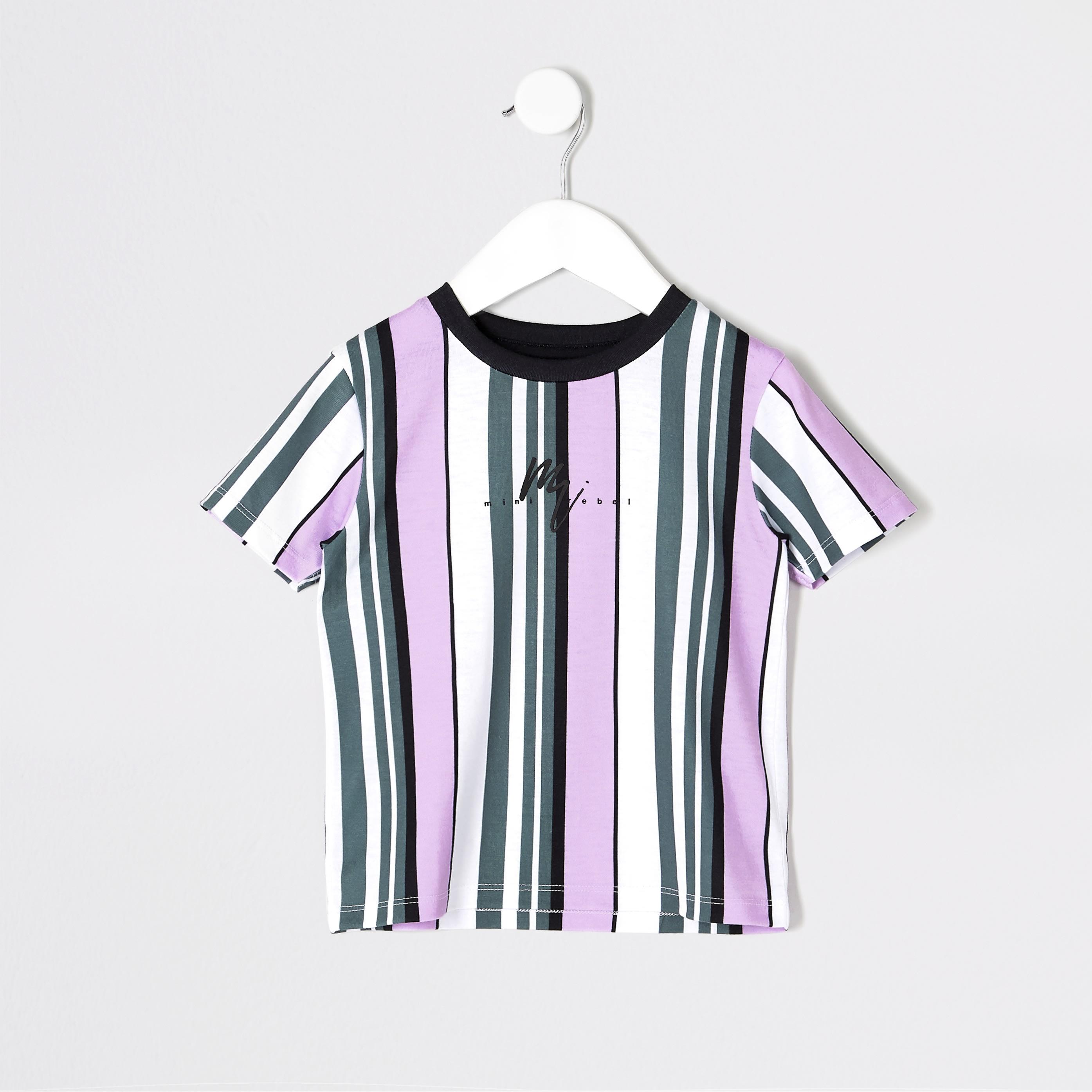 RIVER ISLAND | Mens Mini boys Purple stripe T-shirt | Goxip