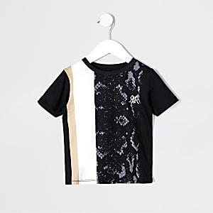 Schwarzes T-Shirt in Schlangenlederoptik