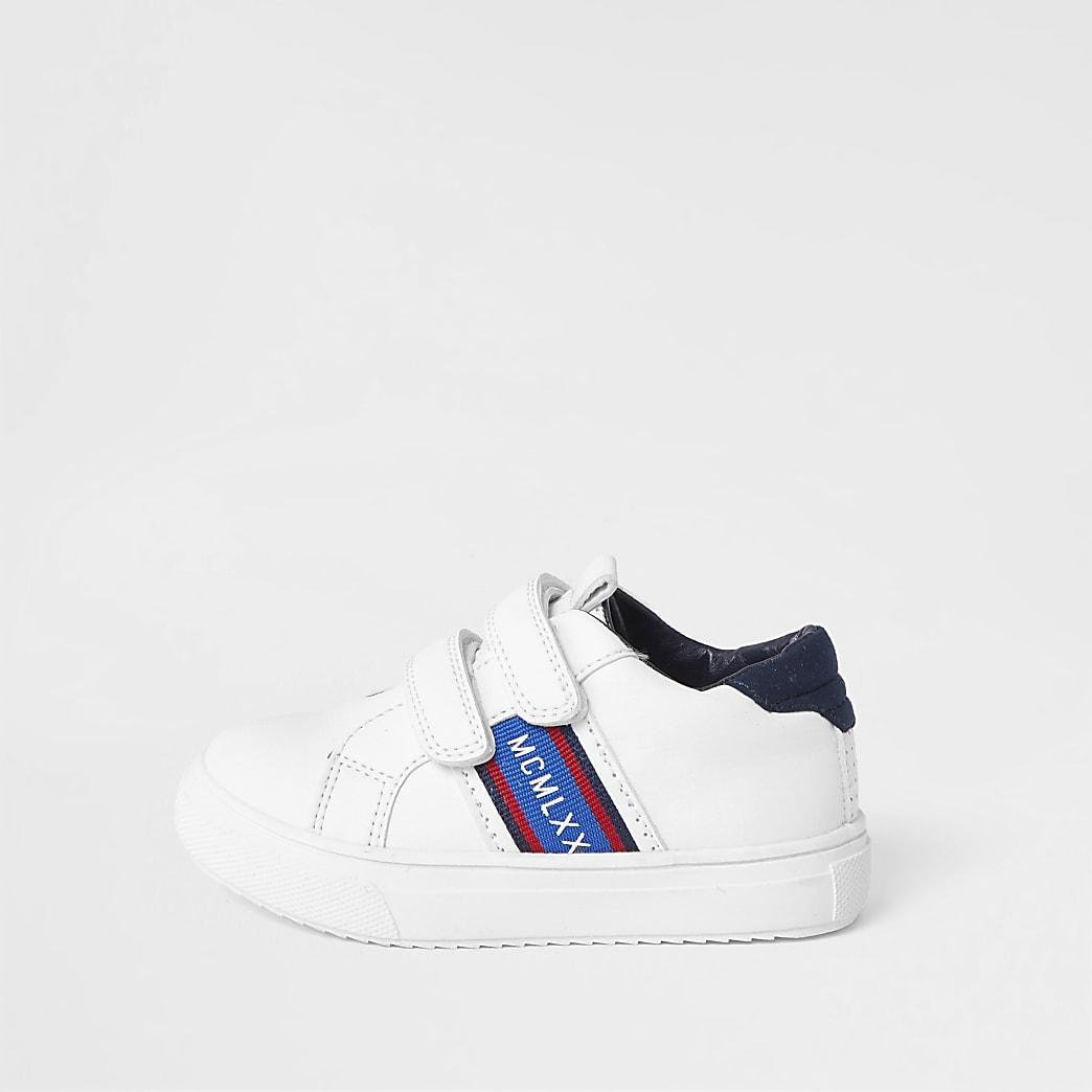 Mini boys white velcro trainers