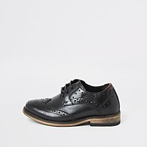 Mini boys black leather brogues