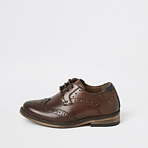 Richelieus en cuir marron pour Mini garçon