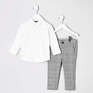 Mini boys white RI shirt outfit
