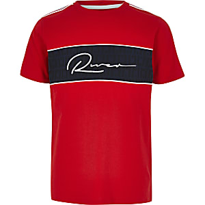 Boys red RI block T-shirt