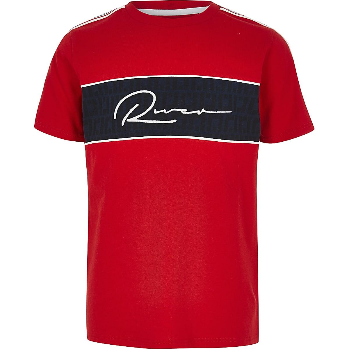 Boys red RI block T-shirt