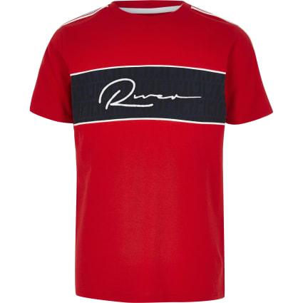 Boys red 'River' block T-shirt