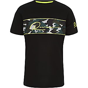 Boys black camo embroidered T-shirt